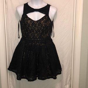 Lace Black dress/ gold inseam